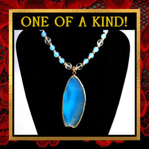 Blue Agate & Chalcedony Stone Necklace #316